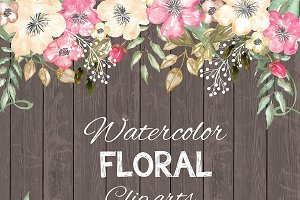 Watercolor Rustic floral cliparts