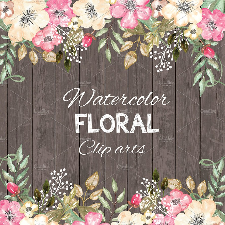 Watercolor Rustic Floral Cliparts Illustrations Creative Market