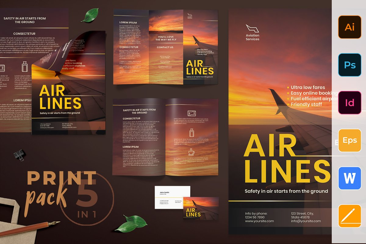 Airlines Aviation Print Pack