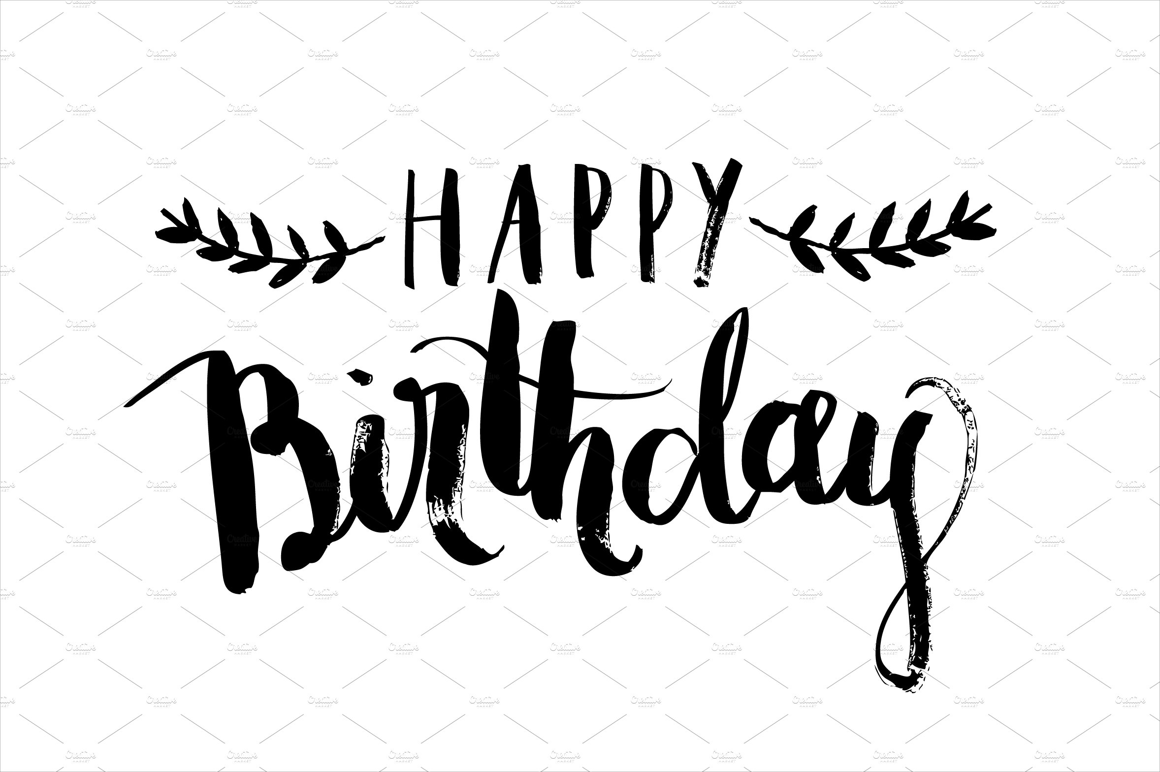 Birthday calligraphy vector web elements creative market