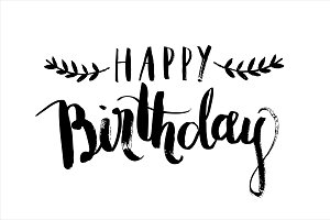 birthday calligraphy vector