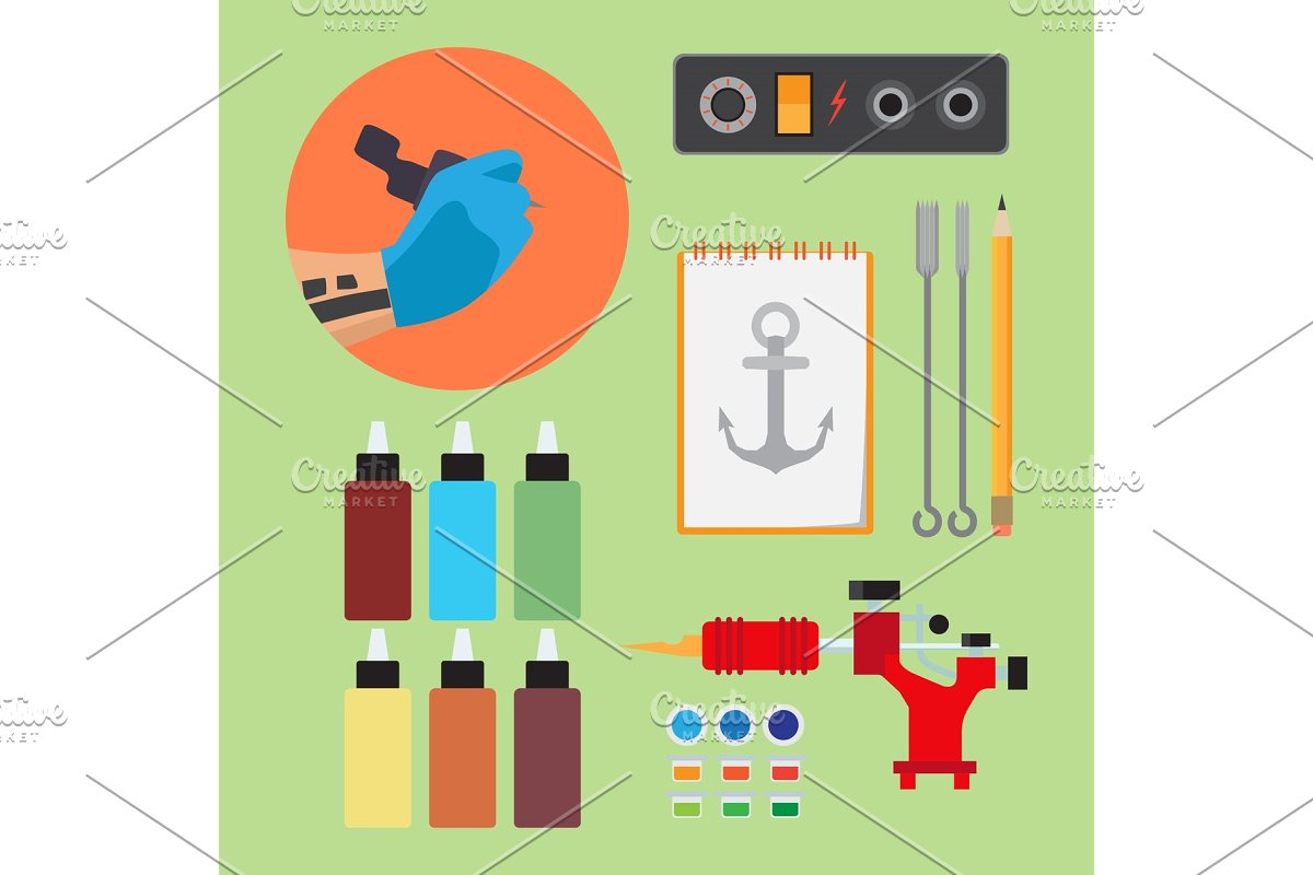 Paints and tools for tattooing