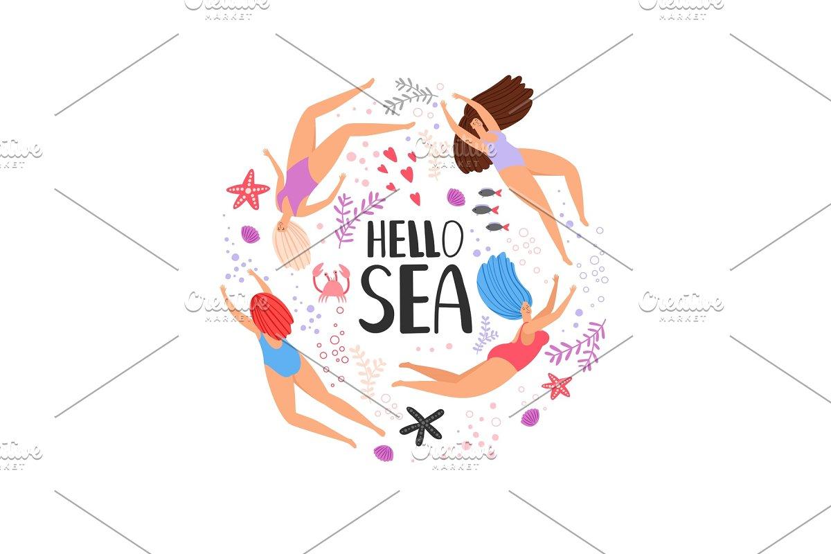Hello sea cartoon swimming women