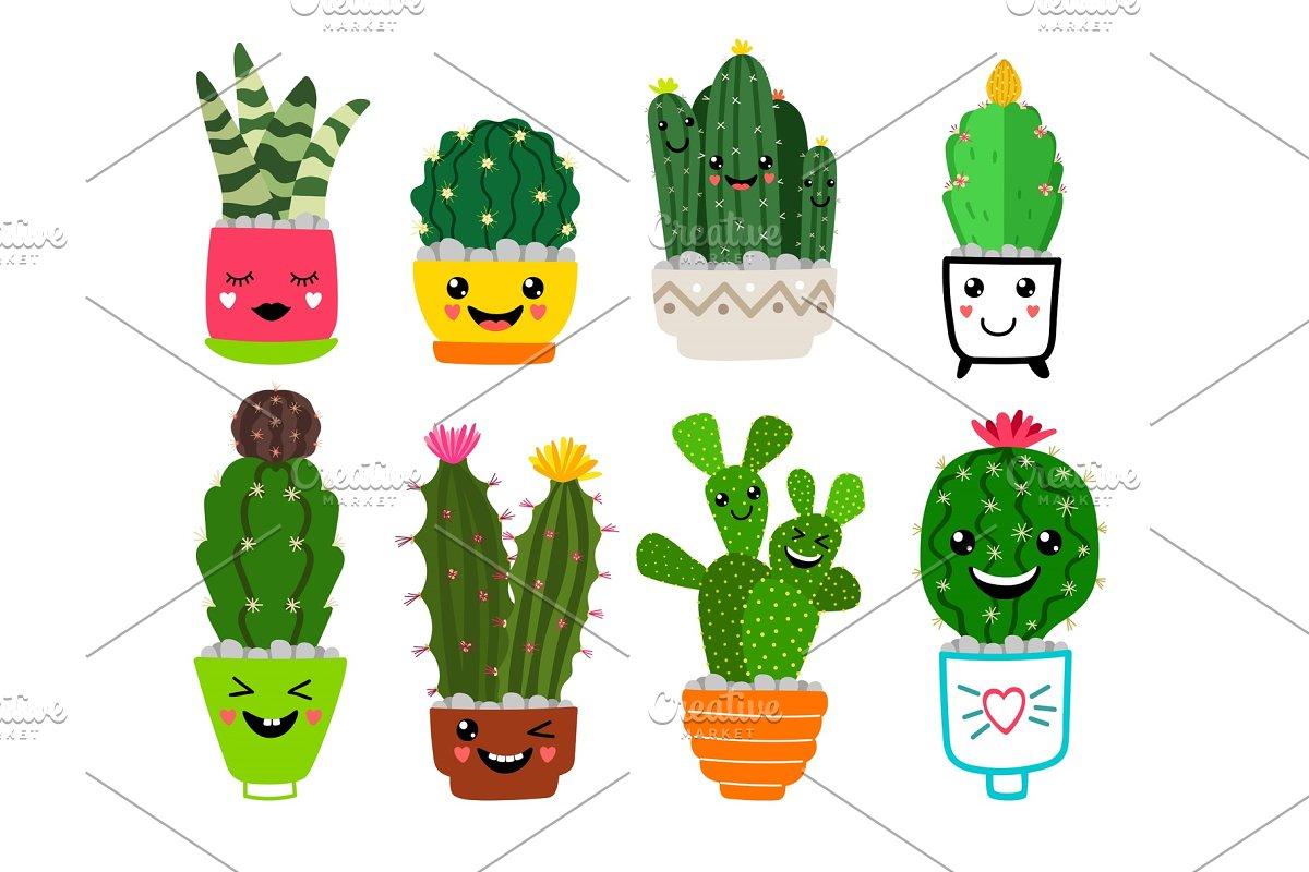 Smiling Cacti In Pots Illustrations Creative Market