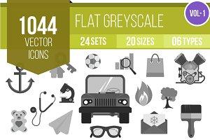 1000+ Flat Greyscale Icons (V1)