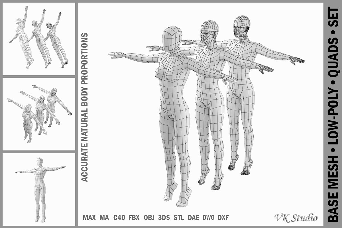 Female Body on Toes in T-Pose