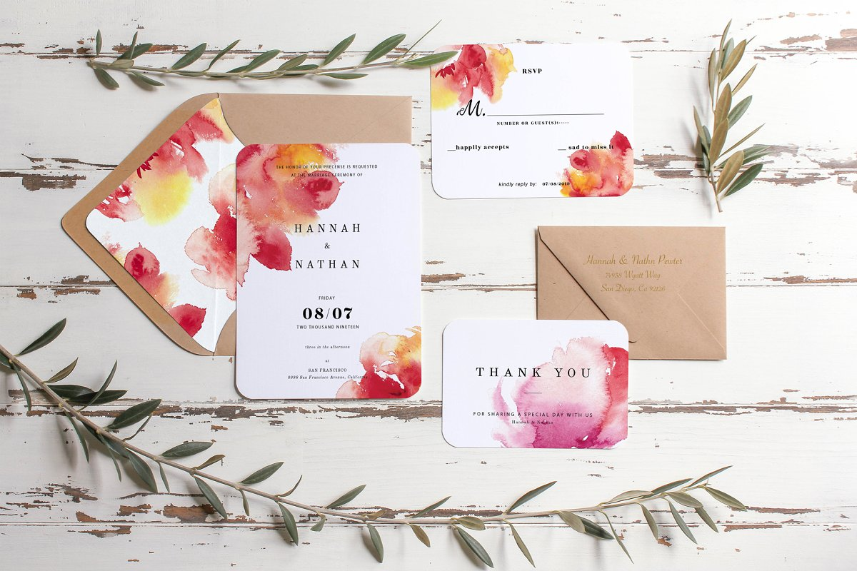 Watercolor Peony Wedding Card Set