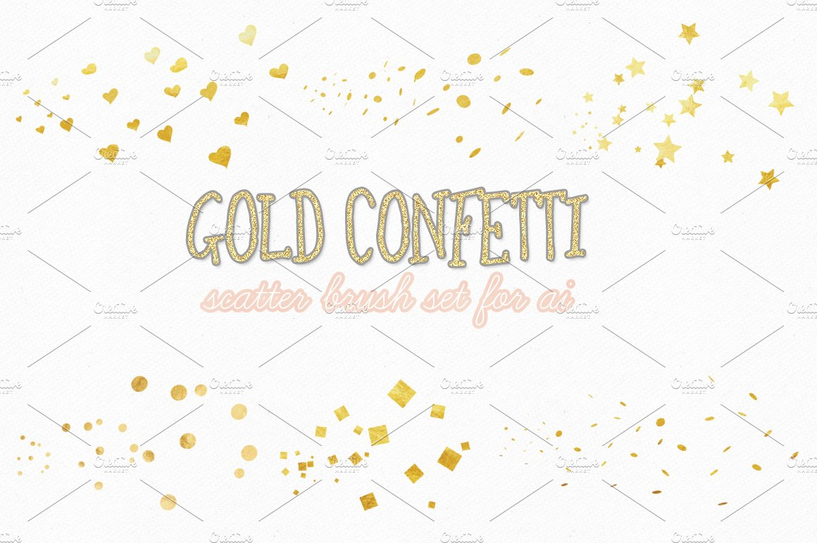 gold confetti scatter brushes brushes creative market