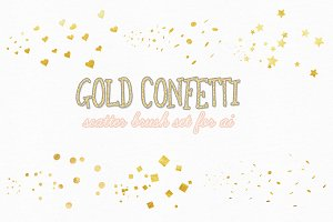gold confetti scatter brushes
