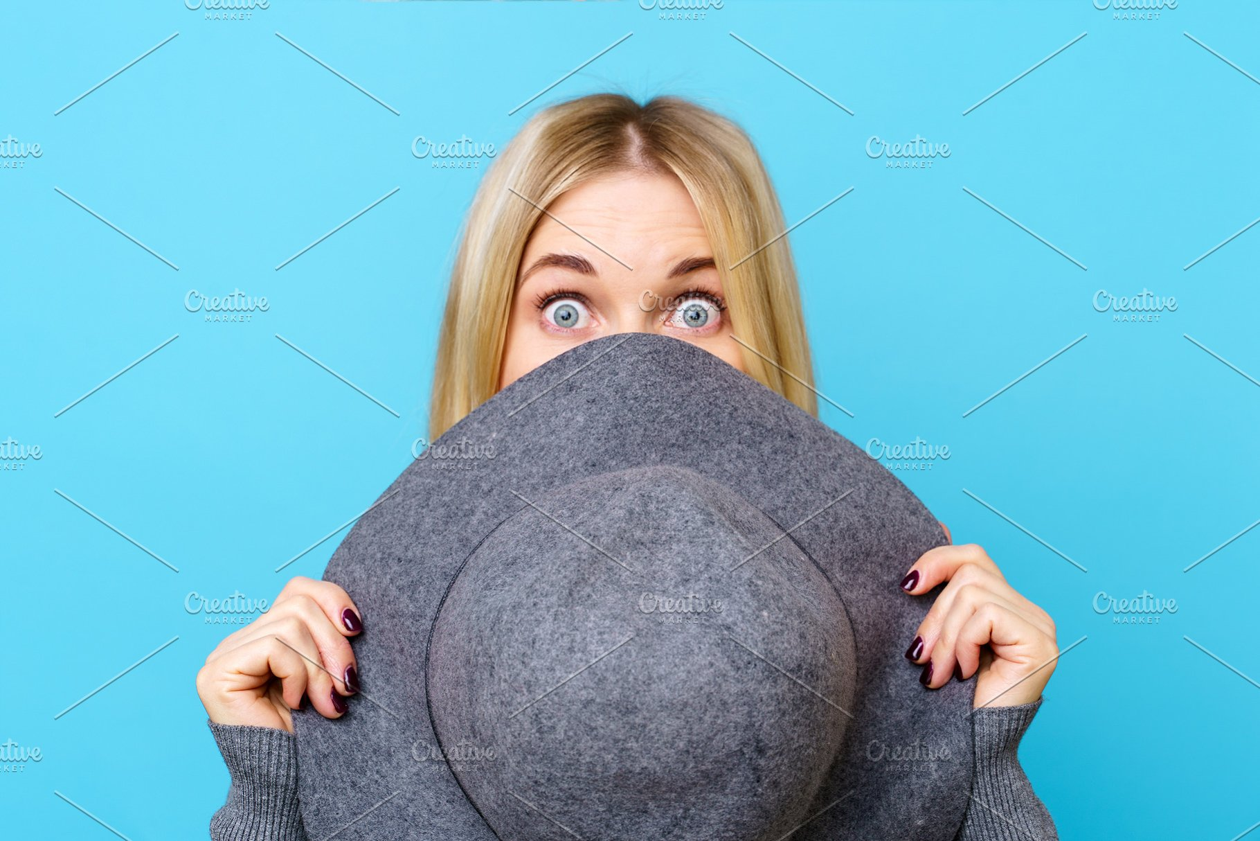 901ea57ccf4 Image of blonde woman covering her ~ People Photos ~ Creative Market