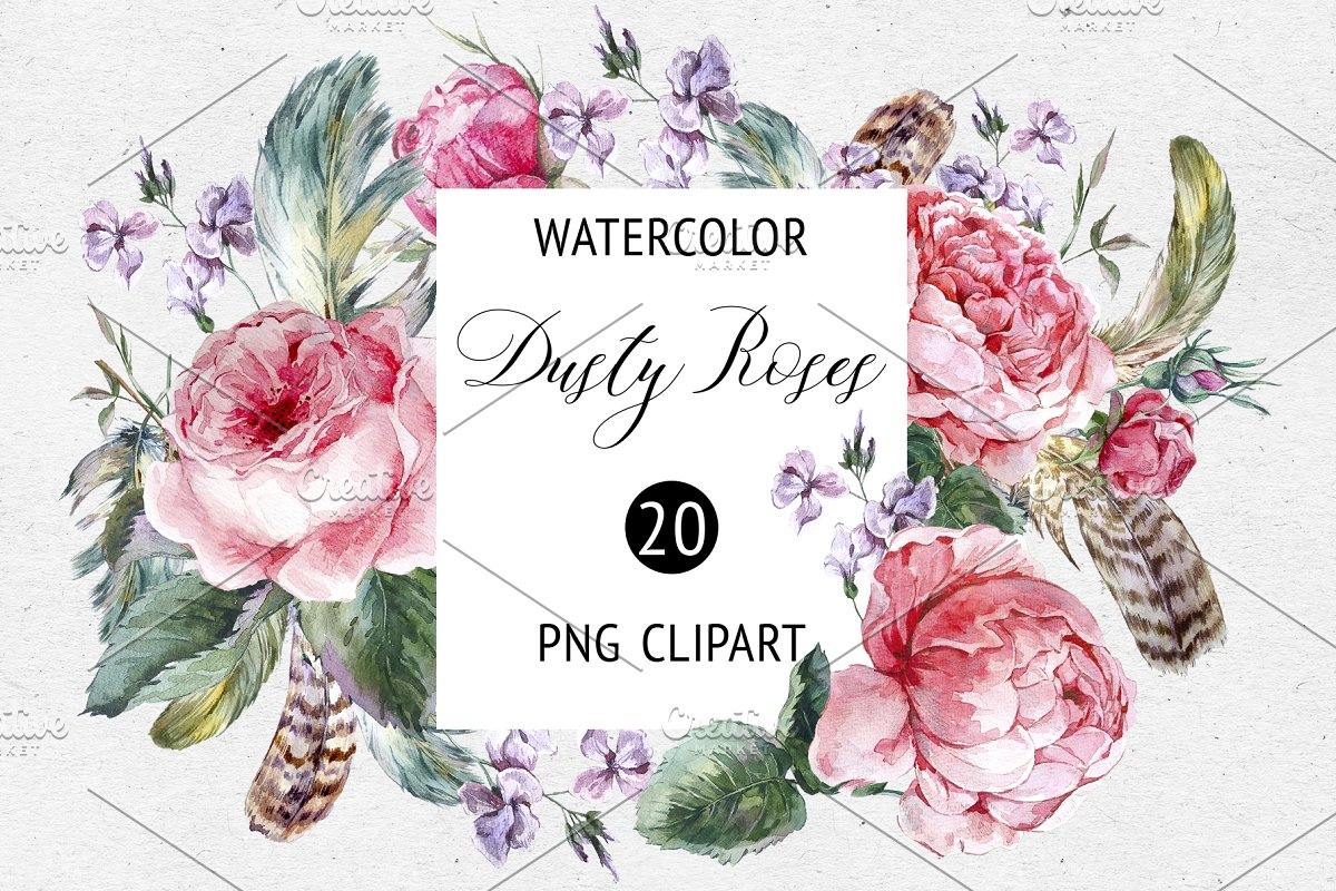 Watercolor Dusty Rose Floral Clipart