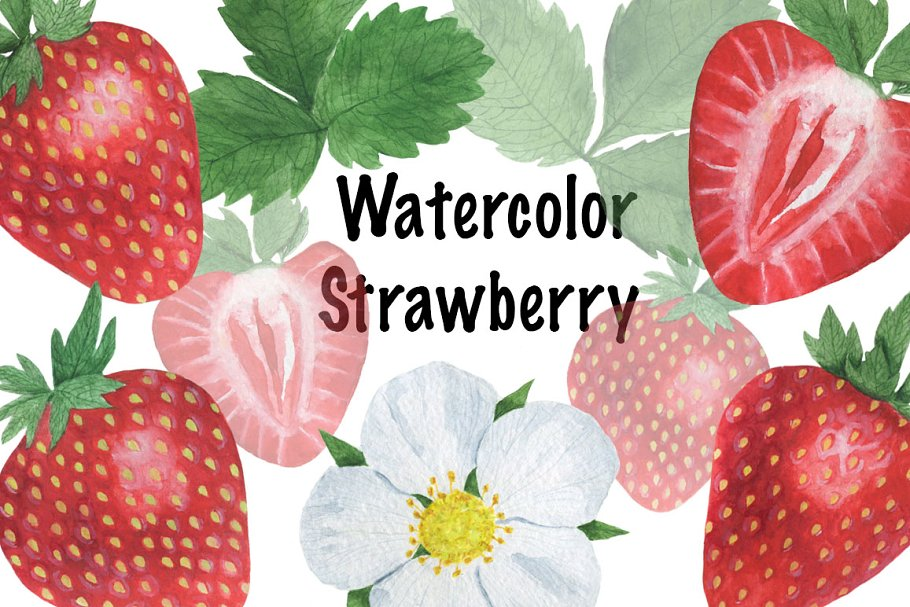 Set of strawberry watercolor