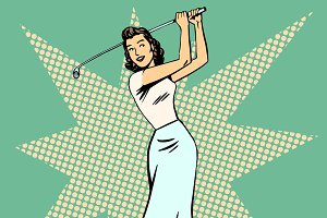 Beautiful woman playing Golf retro p