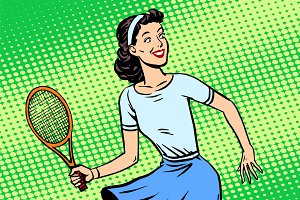 Young woman playing tennis retro