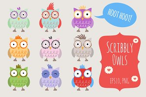 Cute Scribbly Owls