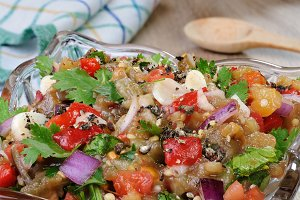 Eggplant salad with vegetables