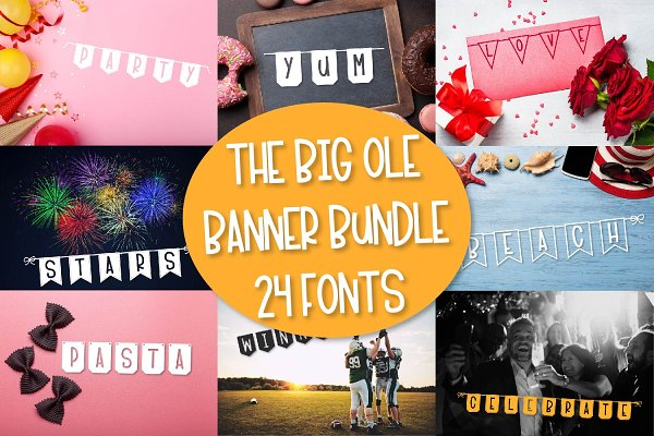 The Big Ole Banner Bundle - 24 Fonts