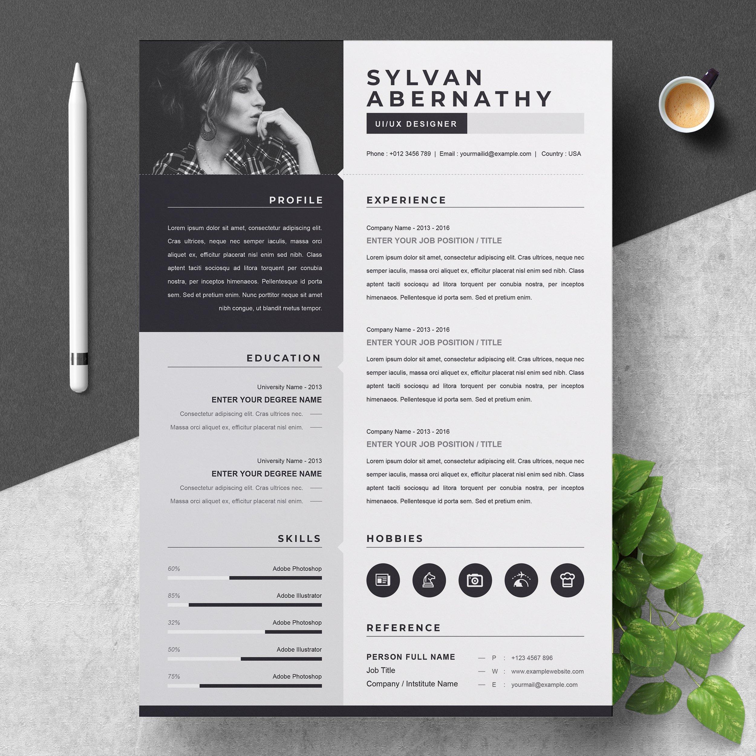 one page resume  cv template  creative illustrator