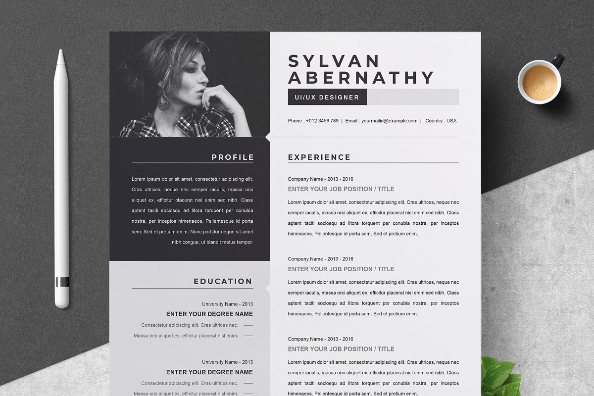 One Page Resume / CV Template ~ Cover Letter Templates ...