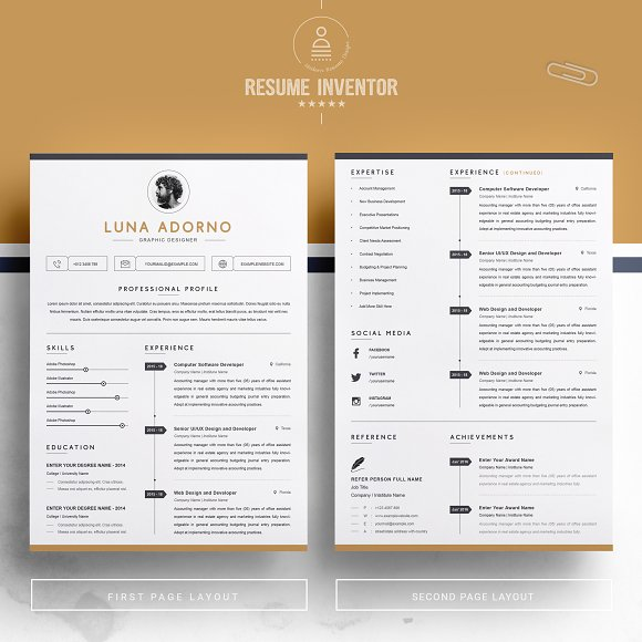 Professional Clean Resume Template Cover Letter Templates Creative Market