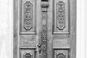 Old black and white door
