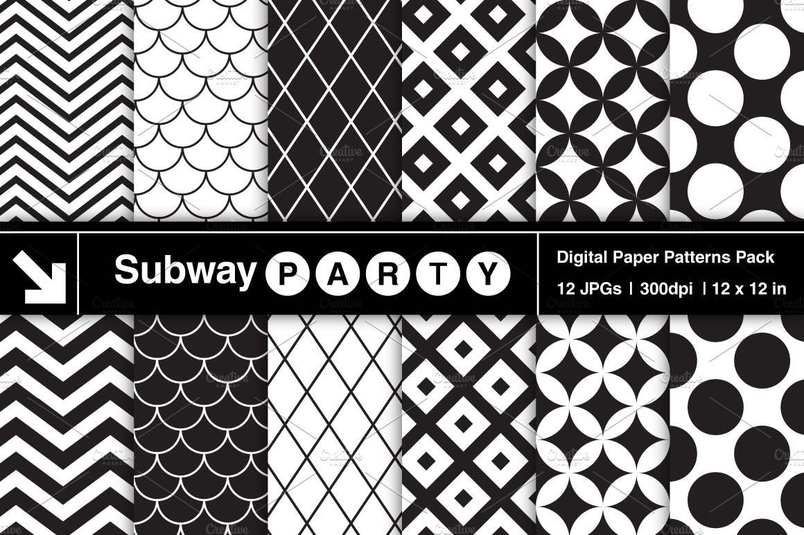 Black White Retro Geometric Papers Graphic Patterns Creative Market