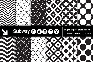 Black White Retro Geometric Papers