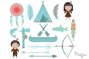 16 Native American Cliparts