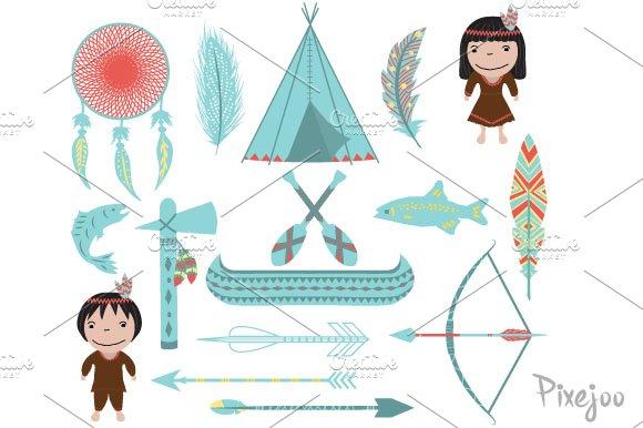16 Native American Cliparts