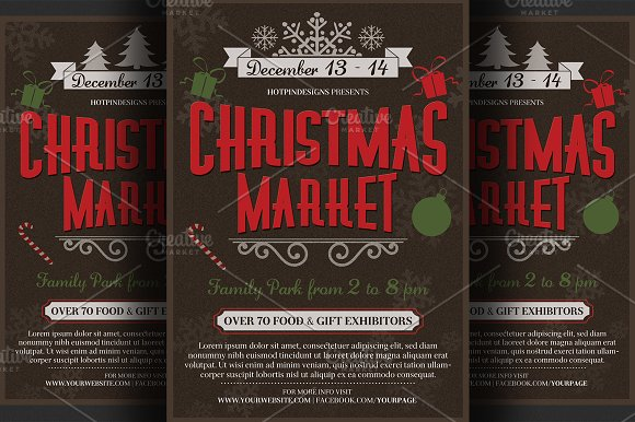 christmas event flyer poster flyer templates creative market