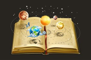 Book on astronomy illustration
