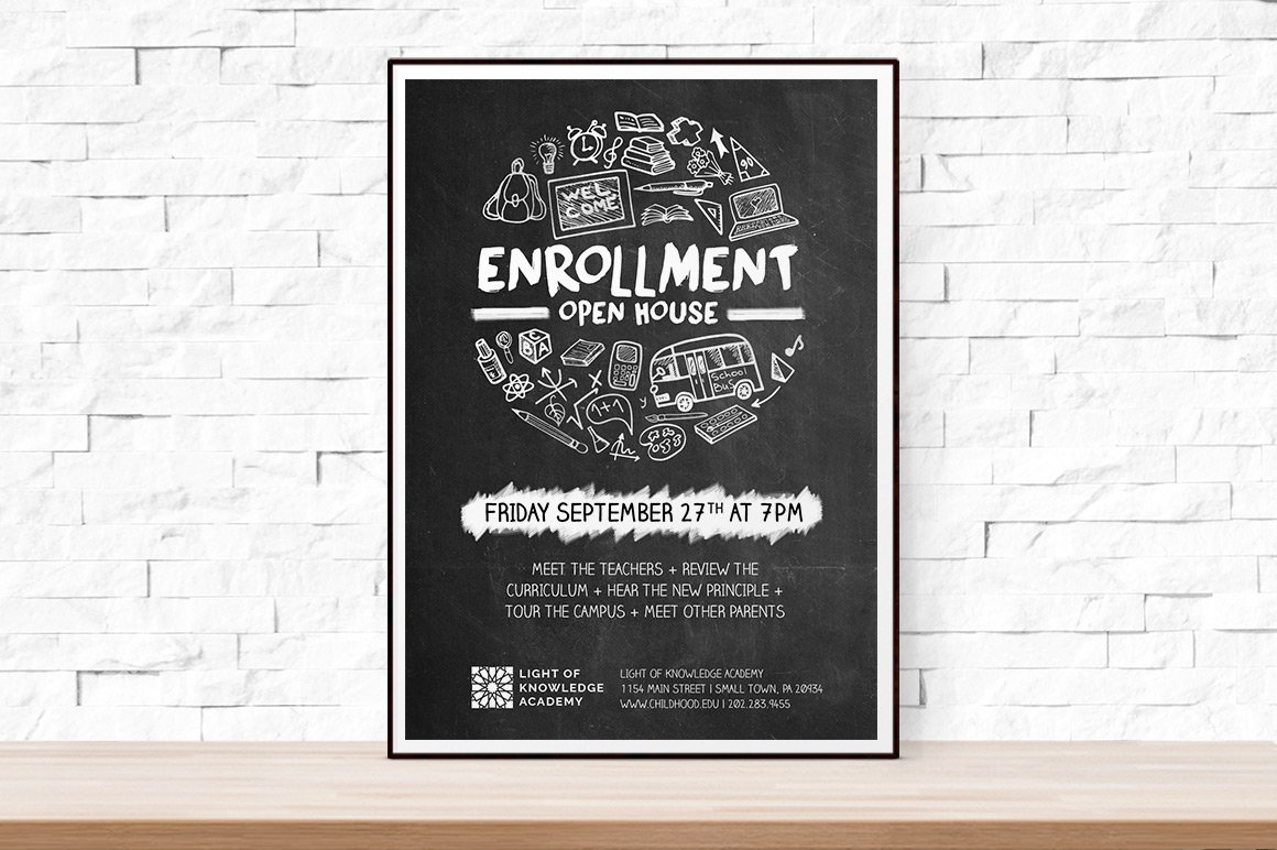 School Open House Flyer Flyer Templates Creative Market – Open House Template