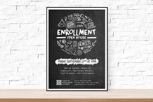 School Open House Flyer Flyer Templates Creative Market - School open house flyer template free