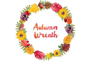 Watercolor Fall Wreath Clip Art