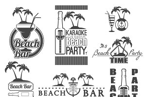 Retro summer labels and signs.