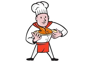 Chef Cook Roast Chicken Dish Cartoon