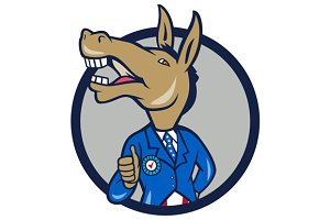 Democrat Donkey Mascot Thumbs Up Cir