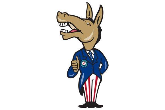 Democrat Donkey Mascot Thumbs Up Car