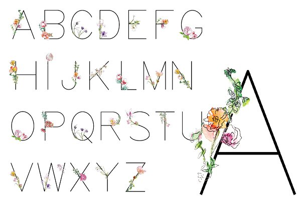 Best Flower Watercolor Font Vector