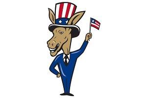 Democrat Donkey Mascot Waving Flag C