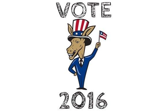 Vote 2016 Democrat Donkey Mascot Fla