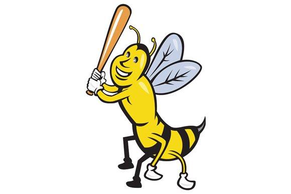 Killer Bee Baseball Player Batting I in Illustrations