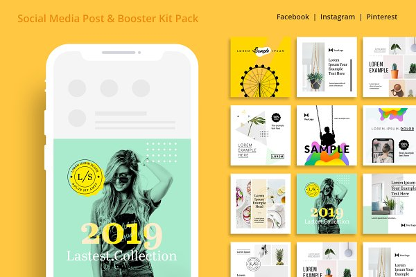 Social Media Posting Booster Kit Creative Illustrator Templates Creative Market