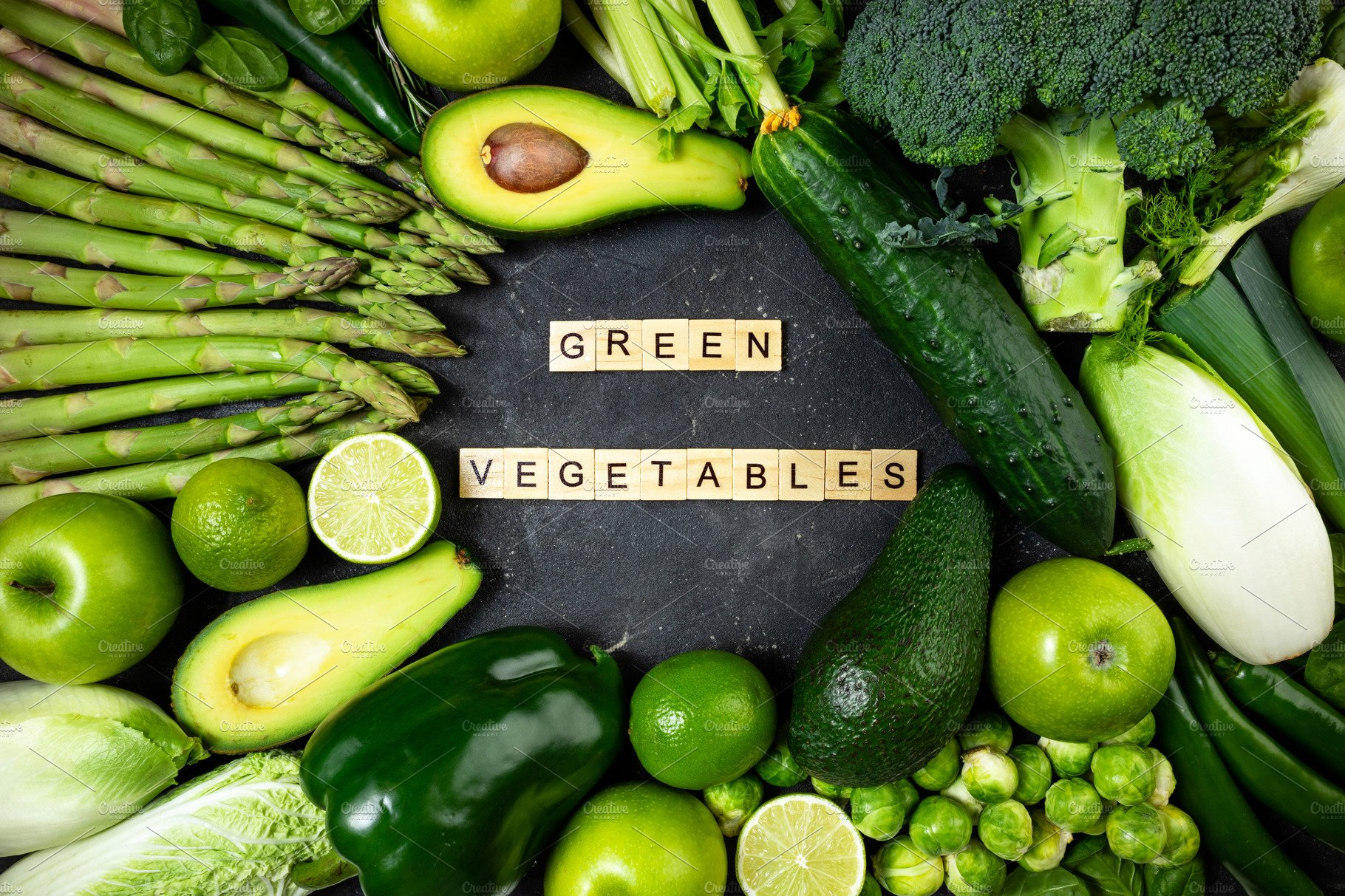 Healthy Food Green Vegetables and fruits, High-Quality Food