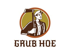 Grub Hoe Apple Orchard Farms Logo