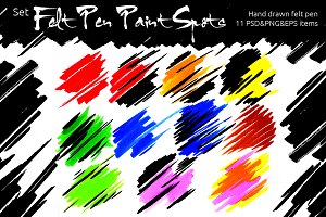 Set of Felt Pen Paint Spots Vector