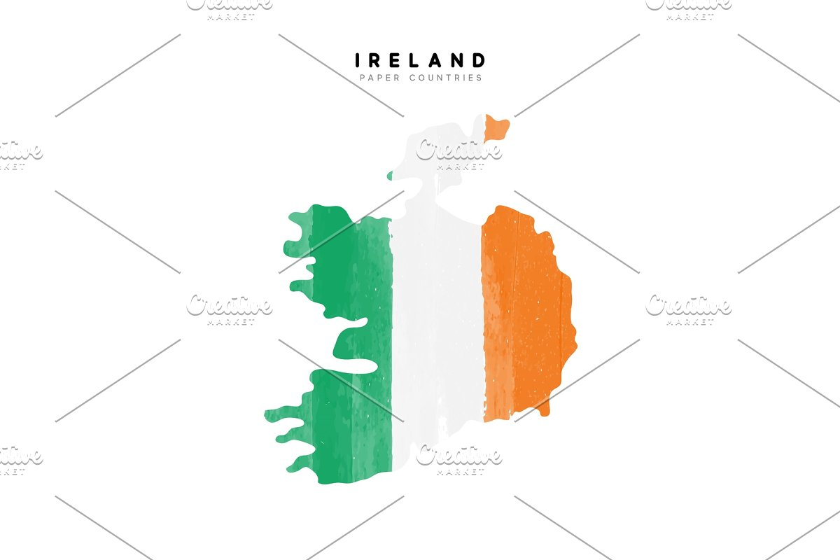 Country Map Of Ireland.Ireland Map With Flag Of Country Graphics Creative Market