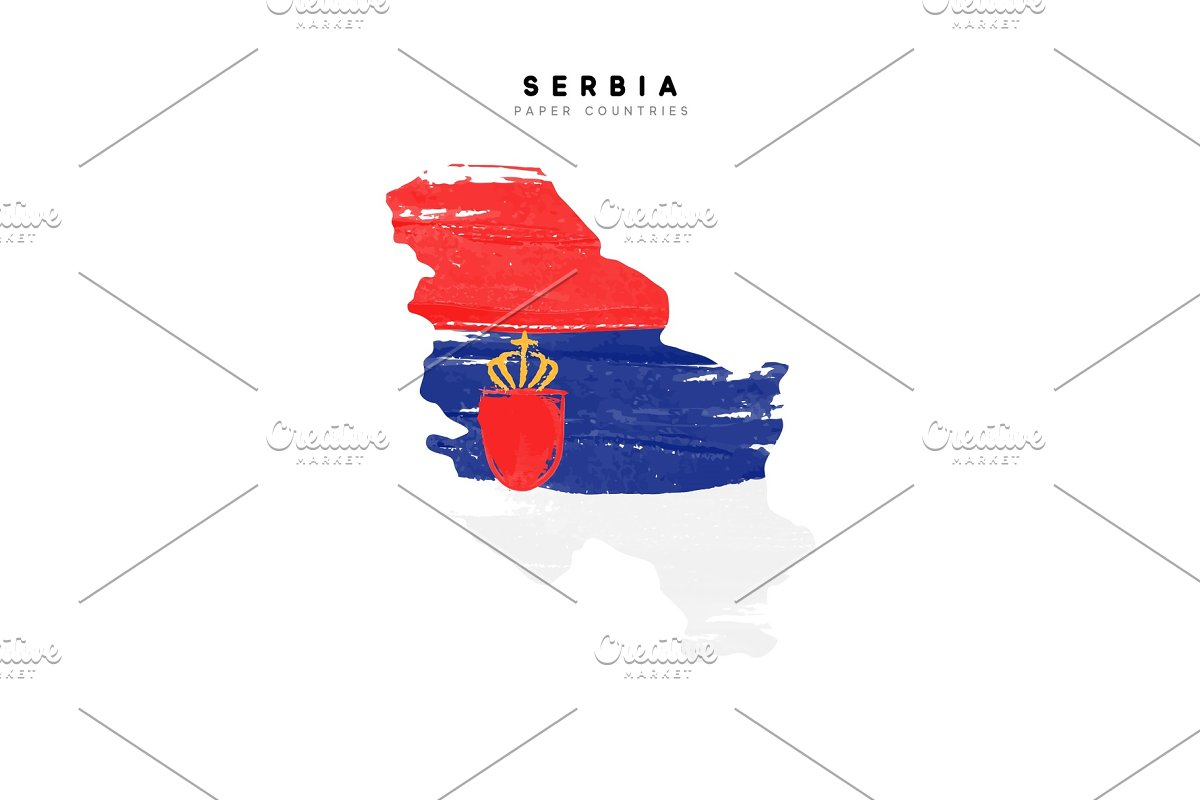 Serbia map with flag of country