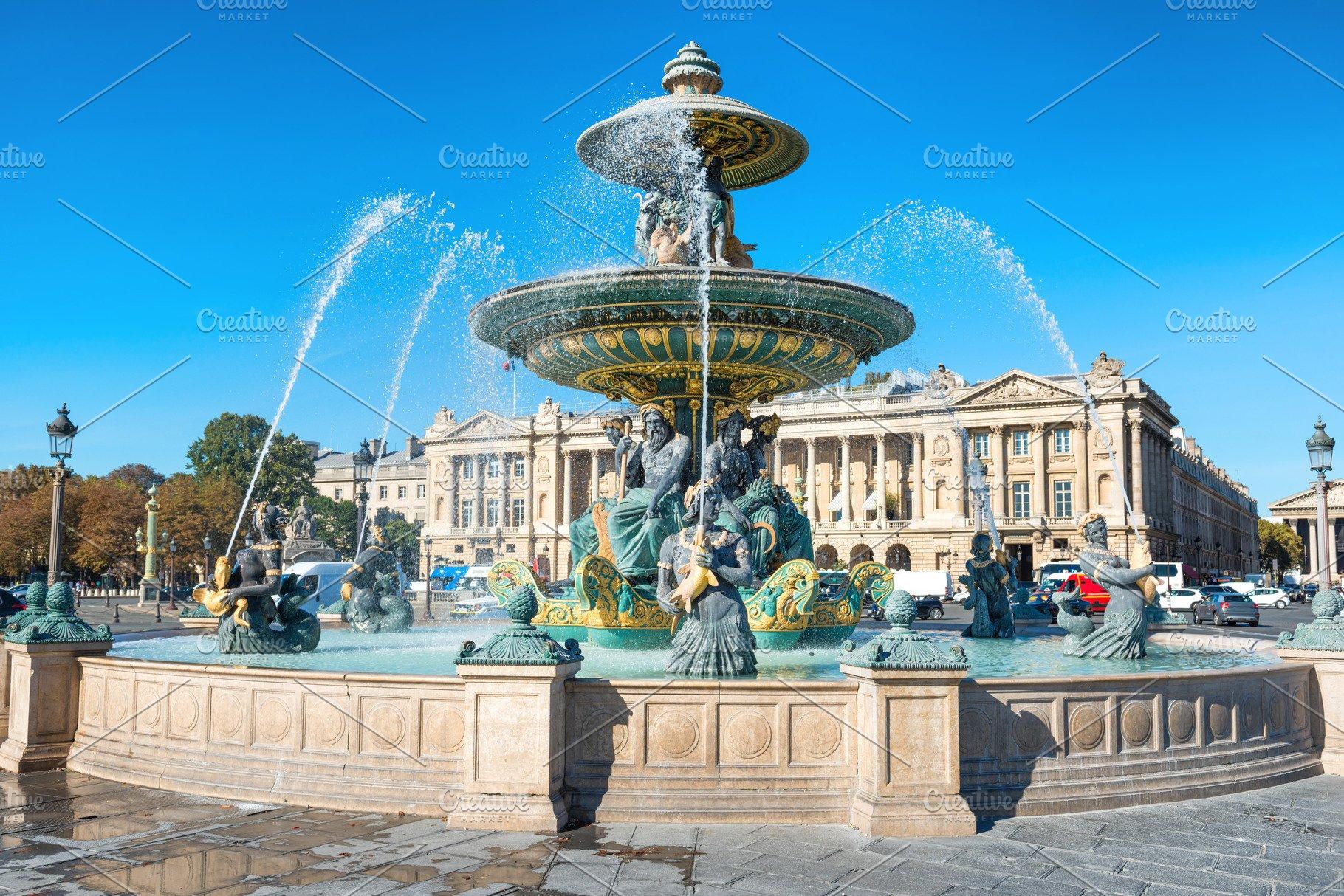 Plaza De La Concordia fountain on place de la concorde in