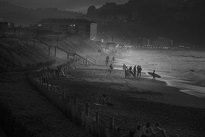 Surfing night scene, B&W